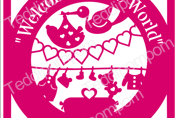Baby SVG, PNG Welcome to the World Baby Birth Announcement Papercut, SVG  Papercutting, Card Making, example image 1