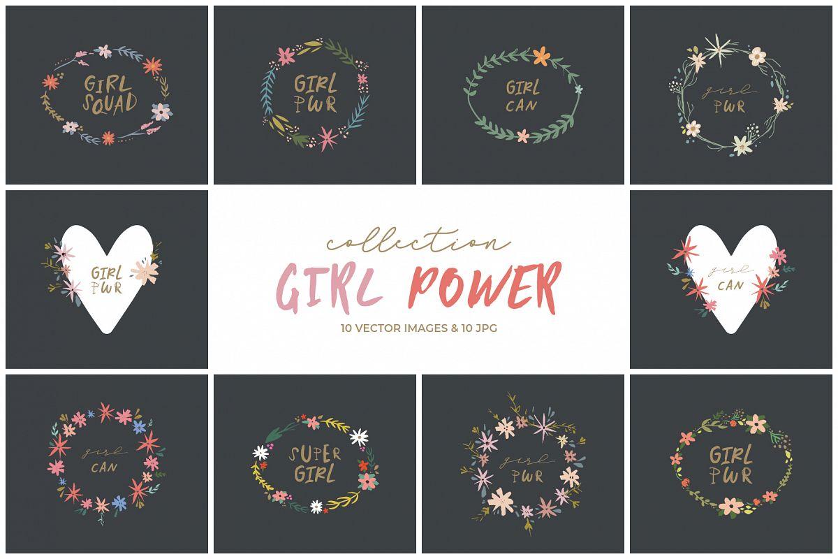Girl power lettering clip art, nursery animals, vector set example image 1