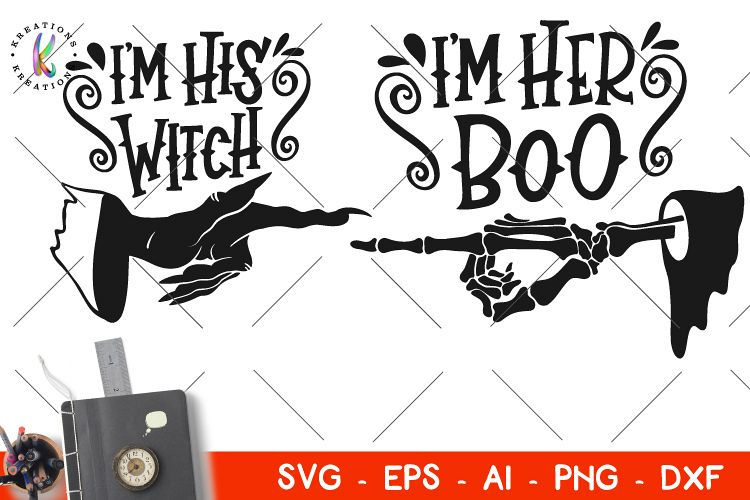 92f1a003 Halloween SVG Couples svg I'm His Witch svg I'm her Boo svg