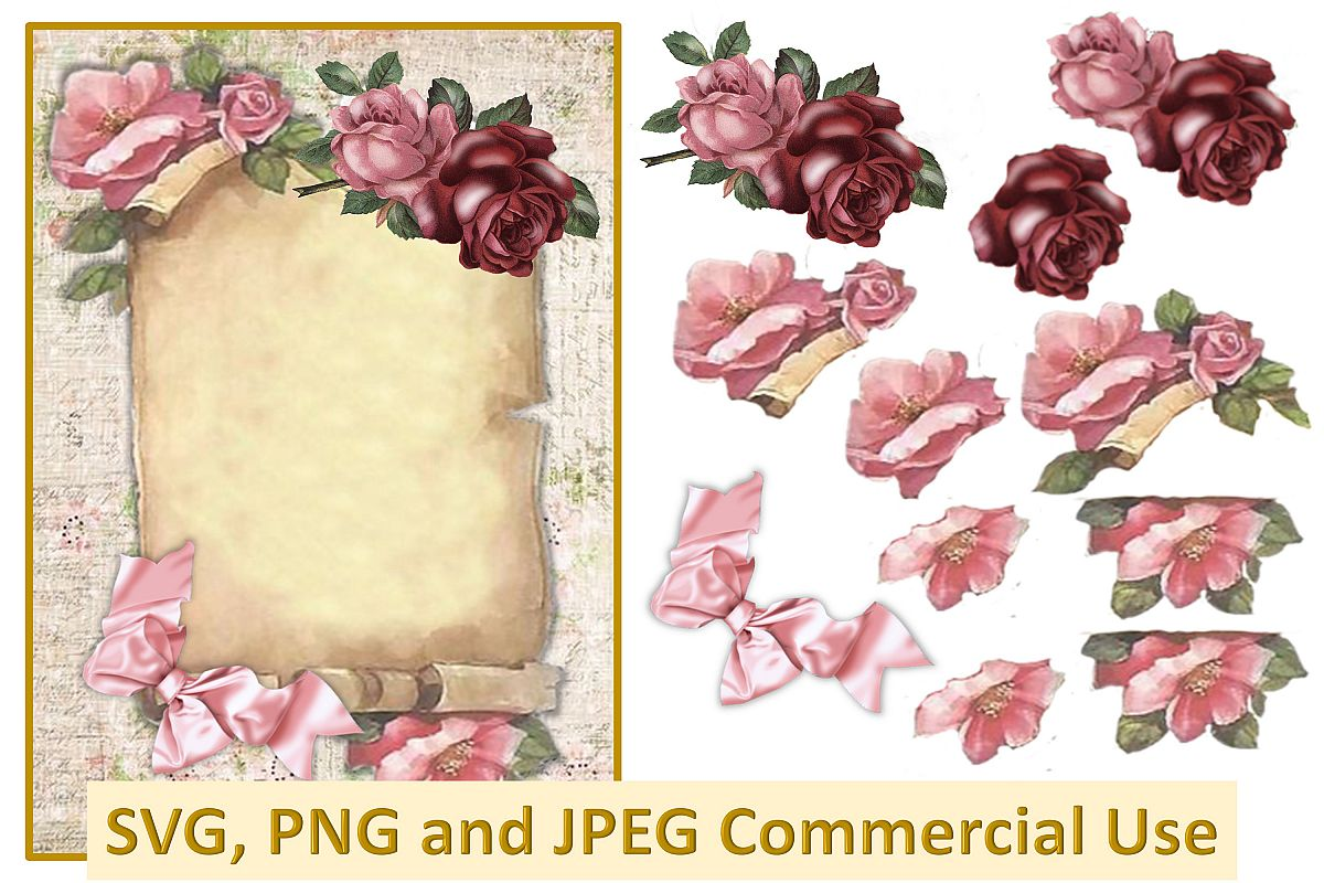 Vintage Scroll collage decoupage sheet SVG, PNG and JPEG CU example image 1