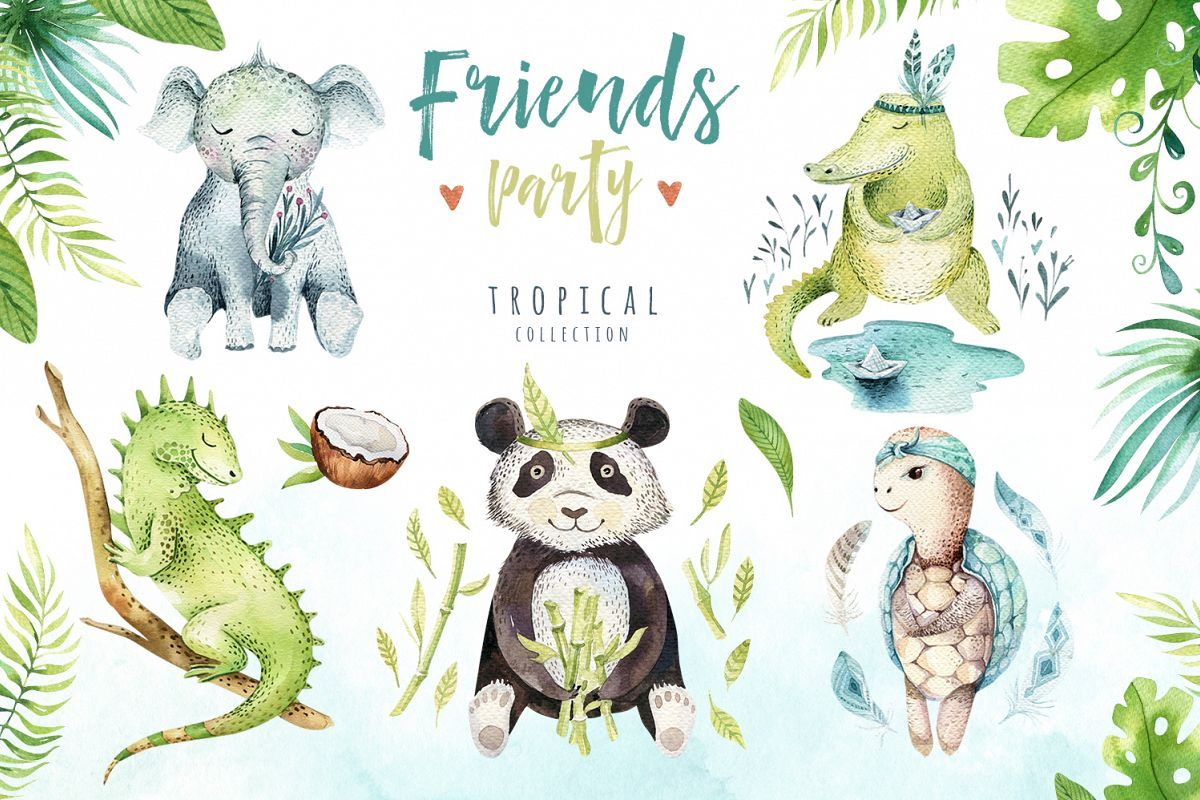 Friends party. Tropical collection example image 1