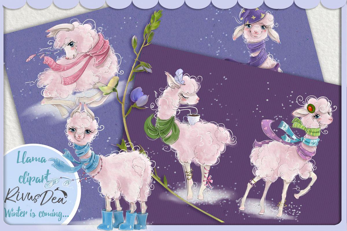 Cute llama alpaca clipart kit example image 1