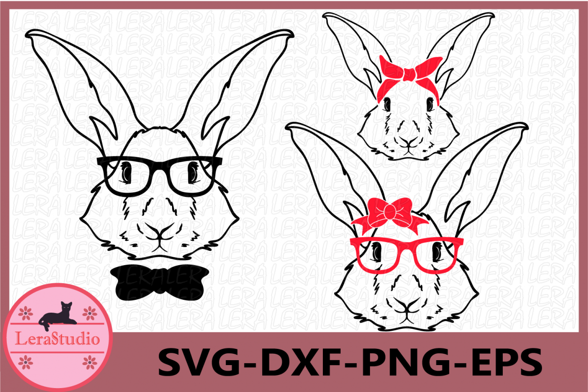Happy Easter Svg, Bunny Svg, Boy Bunny SVG, Girl Bunny Svg example image 1