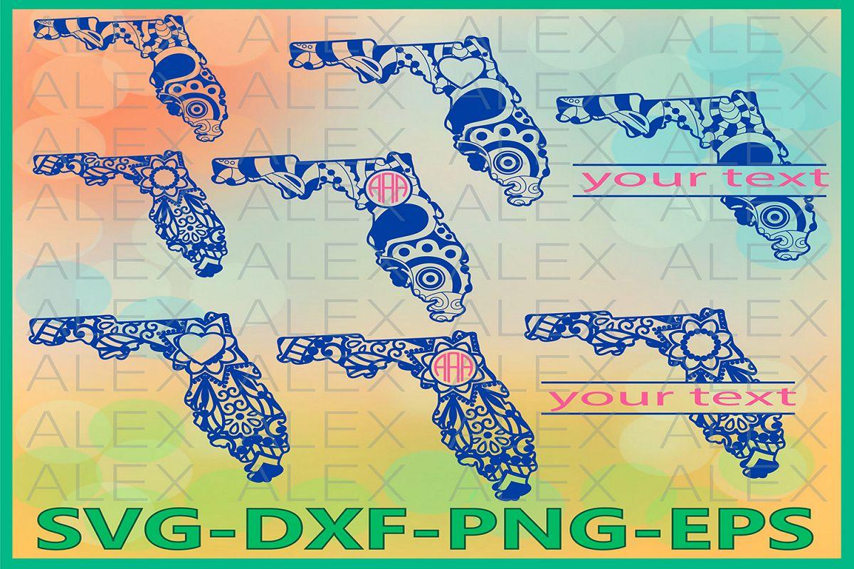 Florida State SVG, Florida Mandala SVG, Zentangle svg example image 1