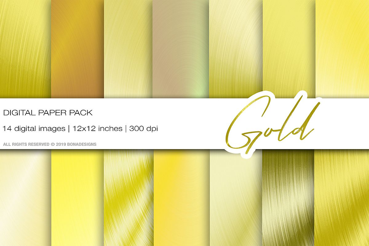 Gold Metallic Digital Papers, Gold Background, Gold Texture example image 1