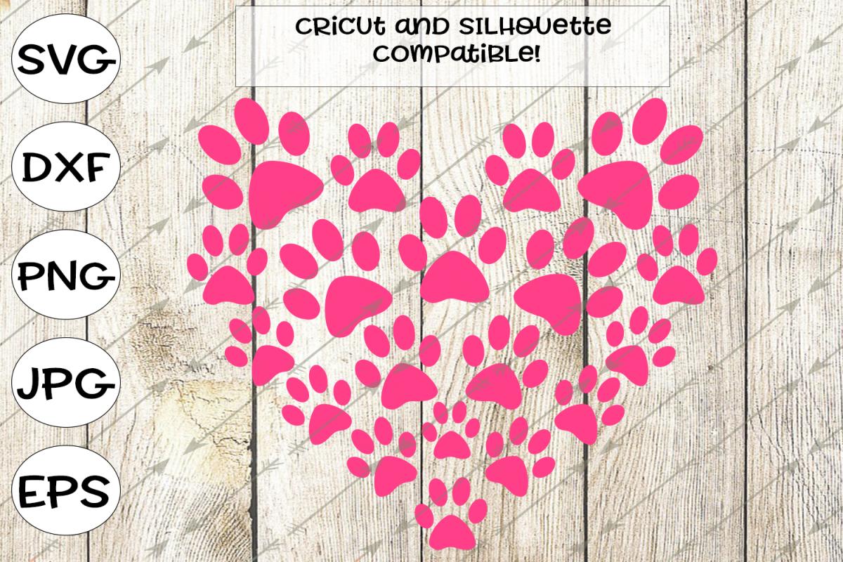 paw print svg, heart svg, hearts svg, paw svg, pawprints, love svg, pawprint clipart, dog svg, cat svg, cricut cut files, silhouette, vector example image 1