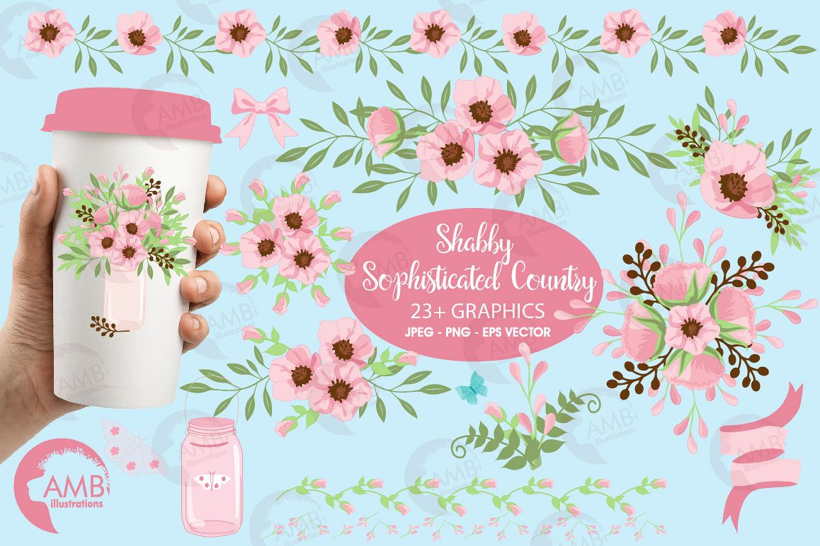 Country floral graphics and illustrations example image 1