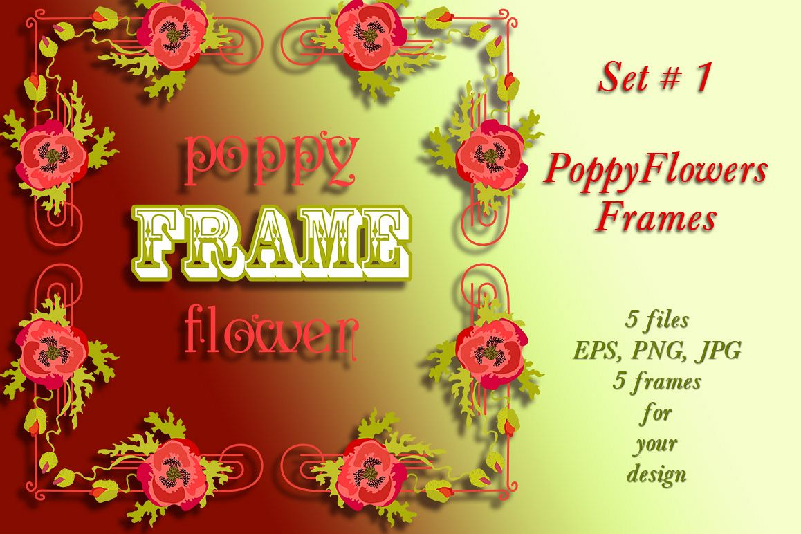 Poppy Flowers Frames Set # 1 example image 1