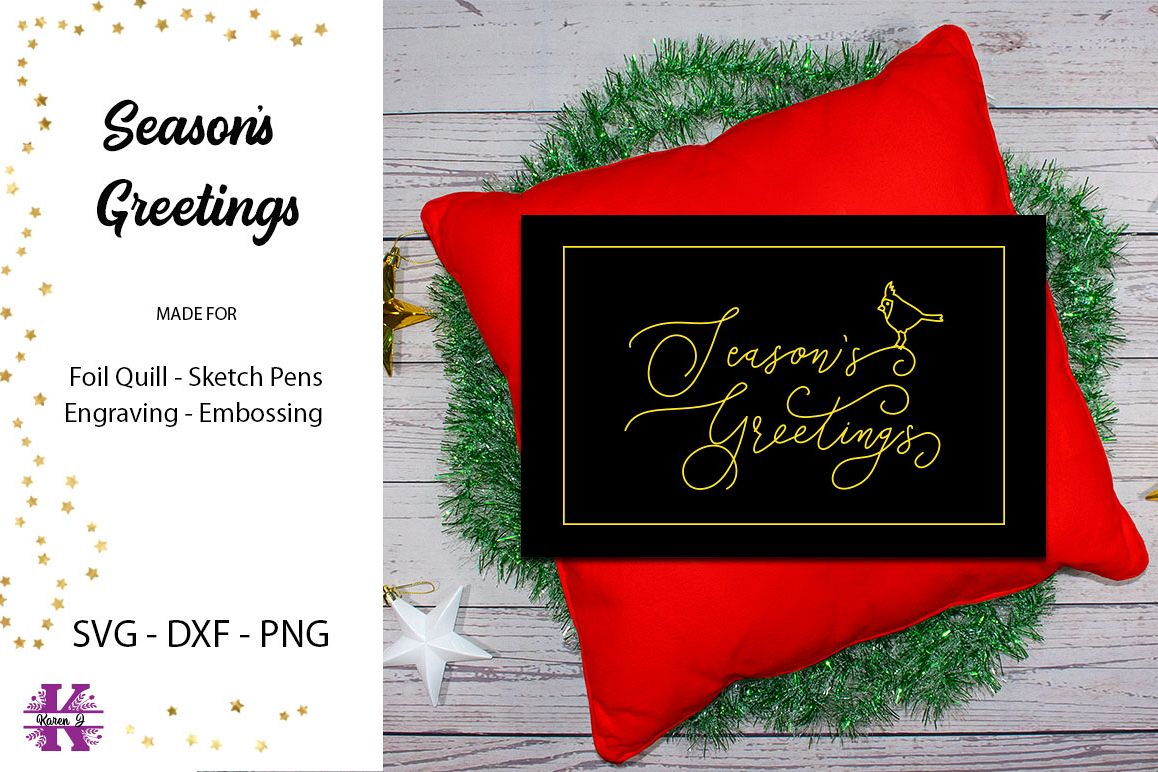 Season's Greetings for Foil Quill Single Line Design example image 1