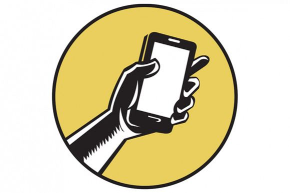 Hand Holding Smartphone Circle Woodcut example image 1