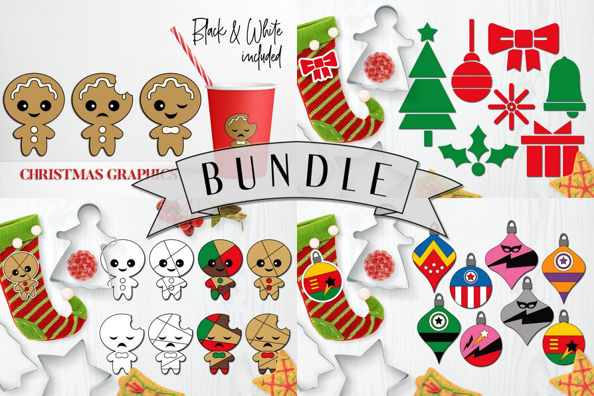 Bundle - Christmas ornaments and Gingerbread Graphics example image 1