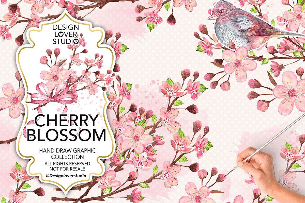 Watercolor Cherry Blossom design example image 1