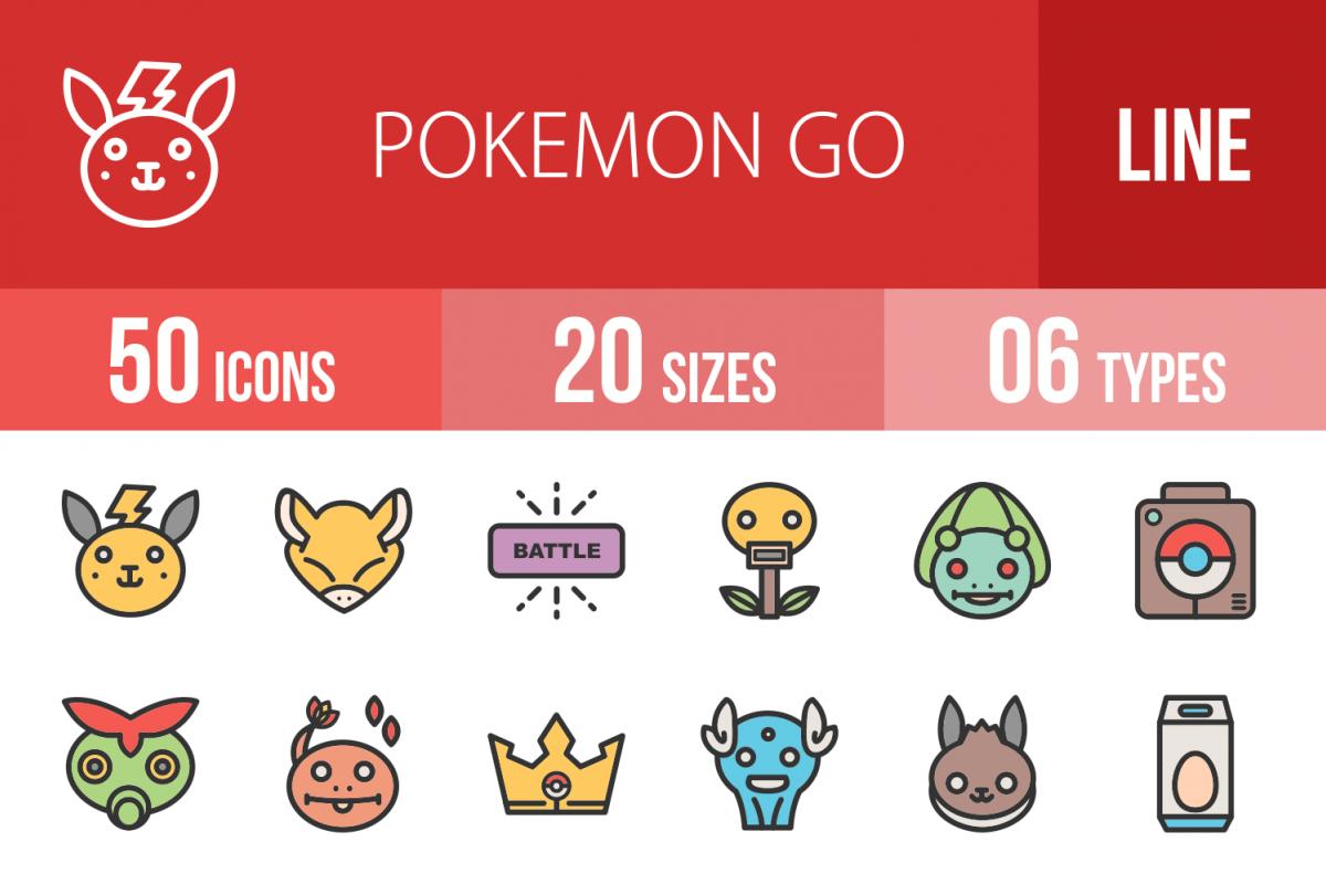 50 Pokemon Go Linear Multicolor Icons example image 1