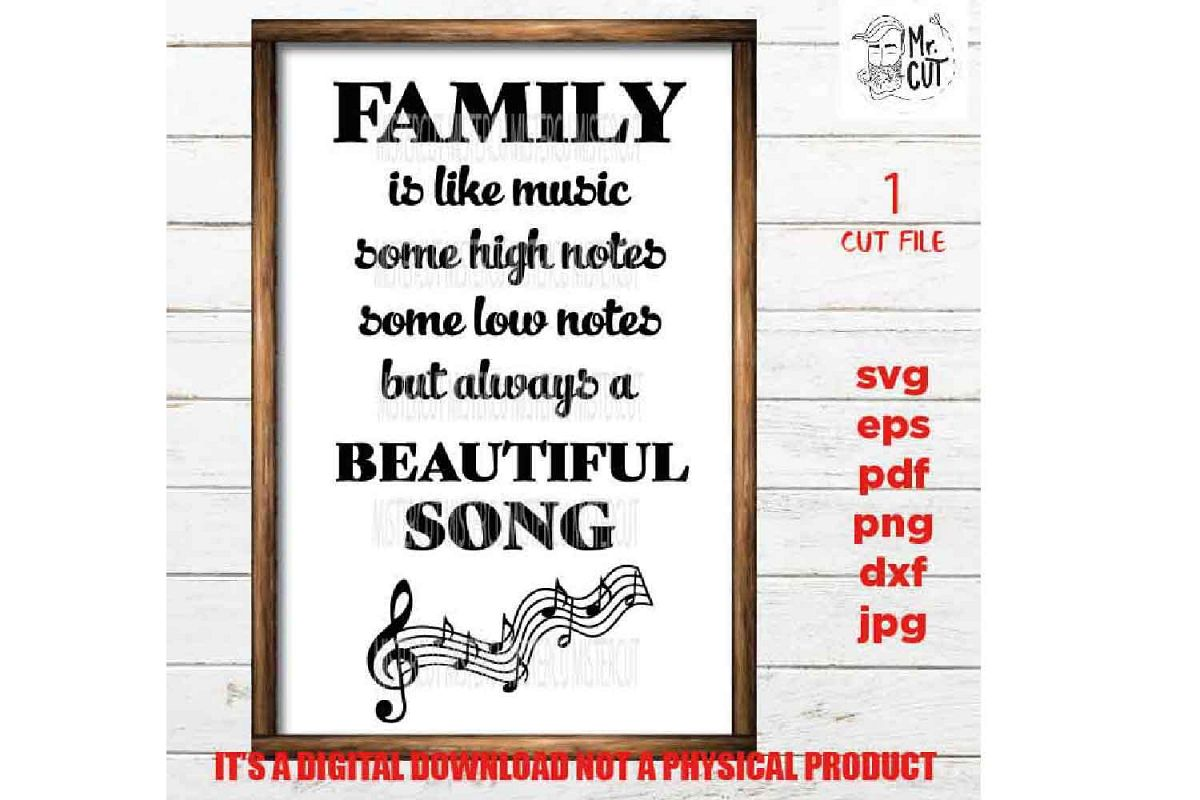 Family sign SVG, Family is like music SVG, reunion, dxf, jpg example image 1