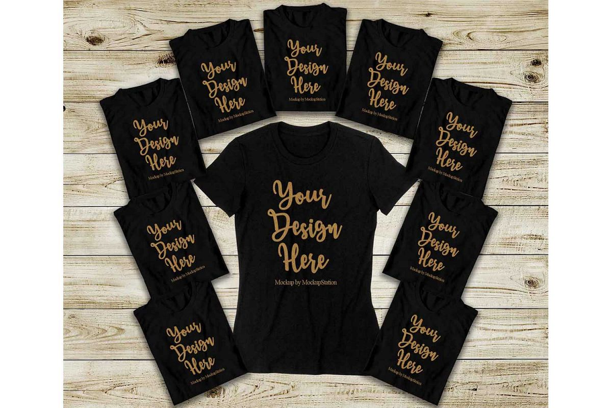 Bachelorette Party Shirts Mockup, Bridal Squad Tee Flat Lay example image 1