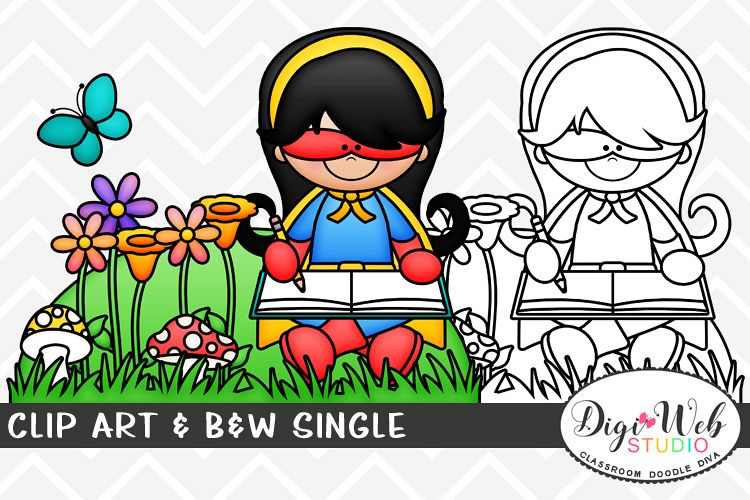 Clip Art & B&W Single-Superhero Girl Sitting Outside Writing example image 1