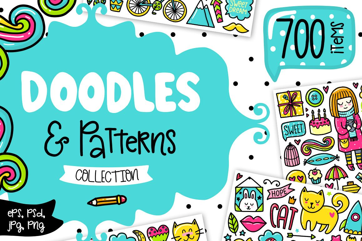 700 Doodles & Patterns - Clipart Set example image 1