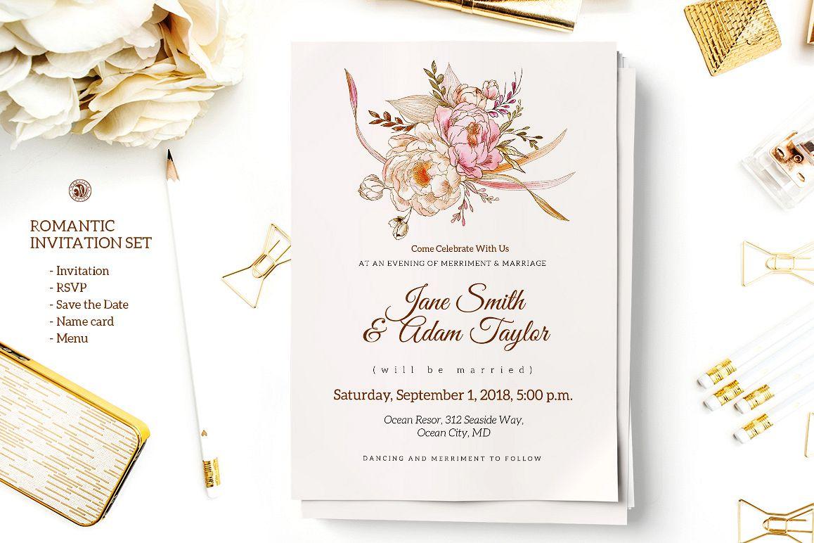 romantic wedding invitation set 35032  card making
