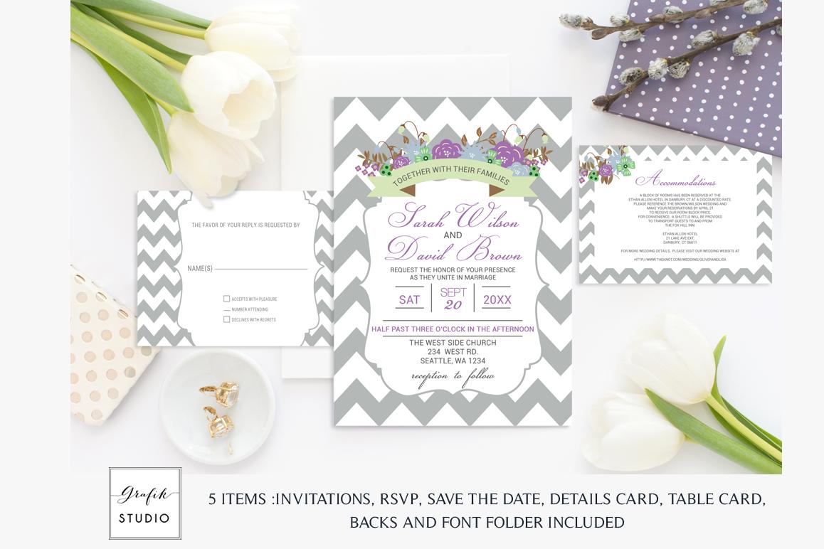 Purple and Mint Chevron Floral Wedding | Design Bundles
