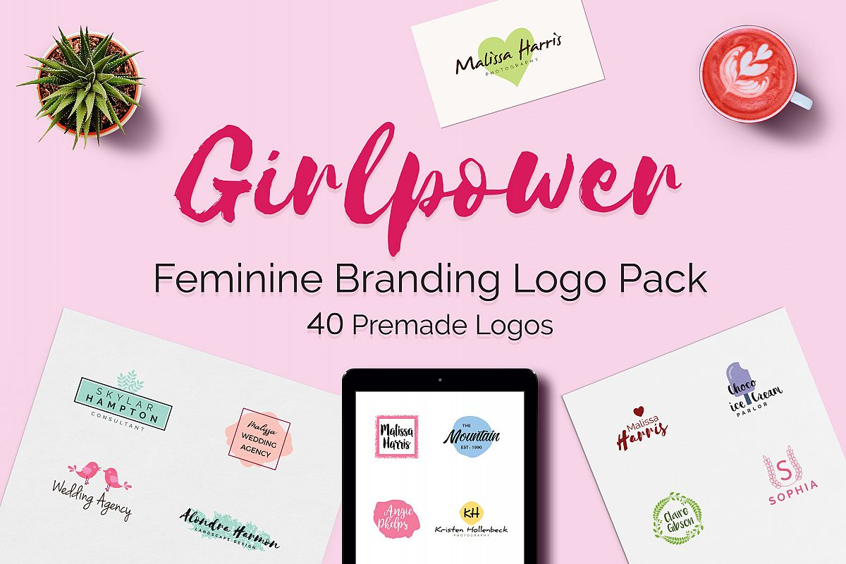GIRLPOWER Feminine Branding Logo Pack example image 1