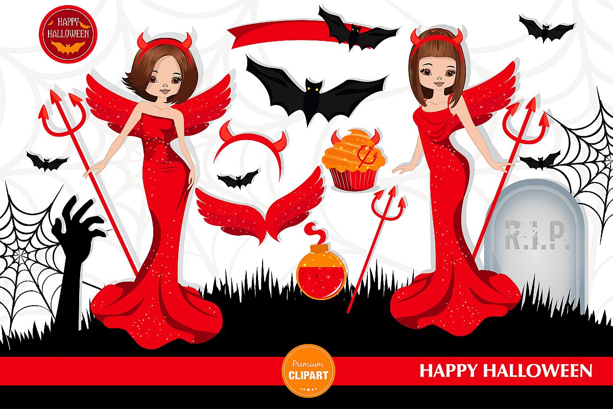 Halloween girl, Halloween illustration, Halloween devil girl example image 1