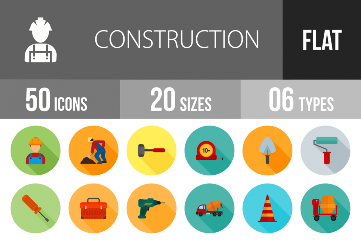 50 Construction Flat Long Shadow Icons example image 1