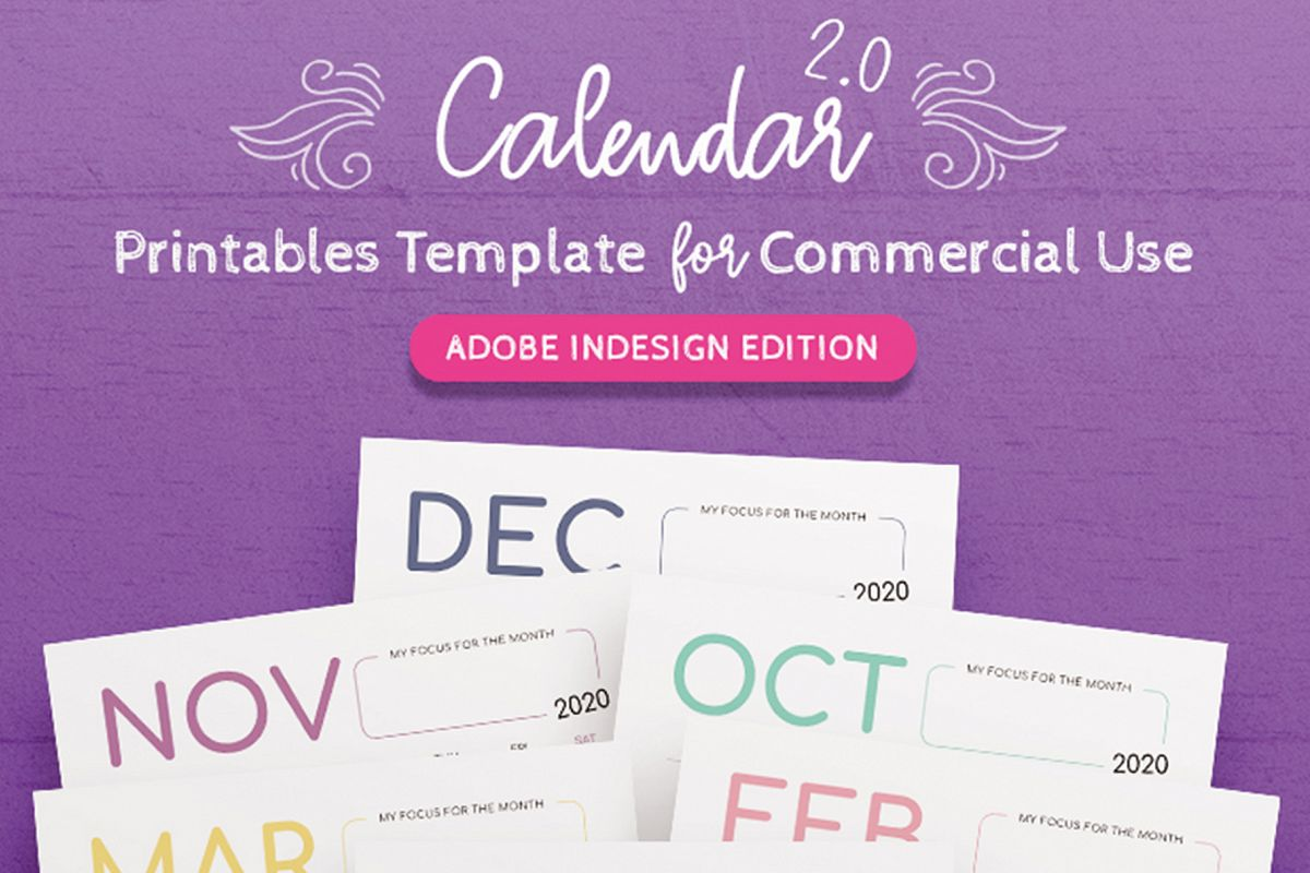 2020 Calendar InDesign Template for Commercial Use example image 1