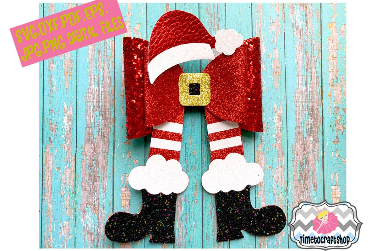 Christmas Hair Bow Template.Christmas Santa Legs Hat And Shoes Hair Bow Template