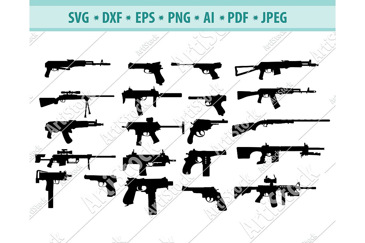 Gun Svg, Hunting Gun SVG, Military Weapon SVG, Dxf, Png, Eps example image 1