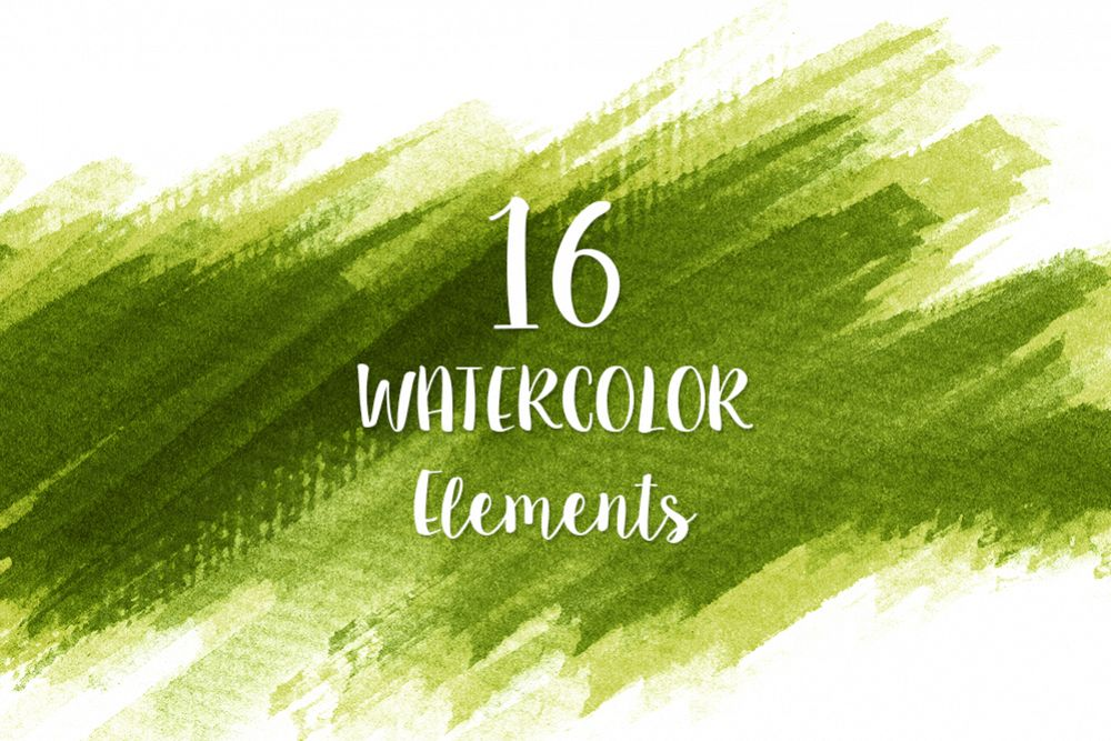 16 Green Watercolor Design Elements example image 1