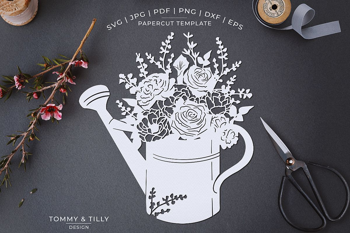 Romantic Floral Watering Can - Papercut Template SVG JPG PNG example image 1