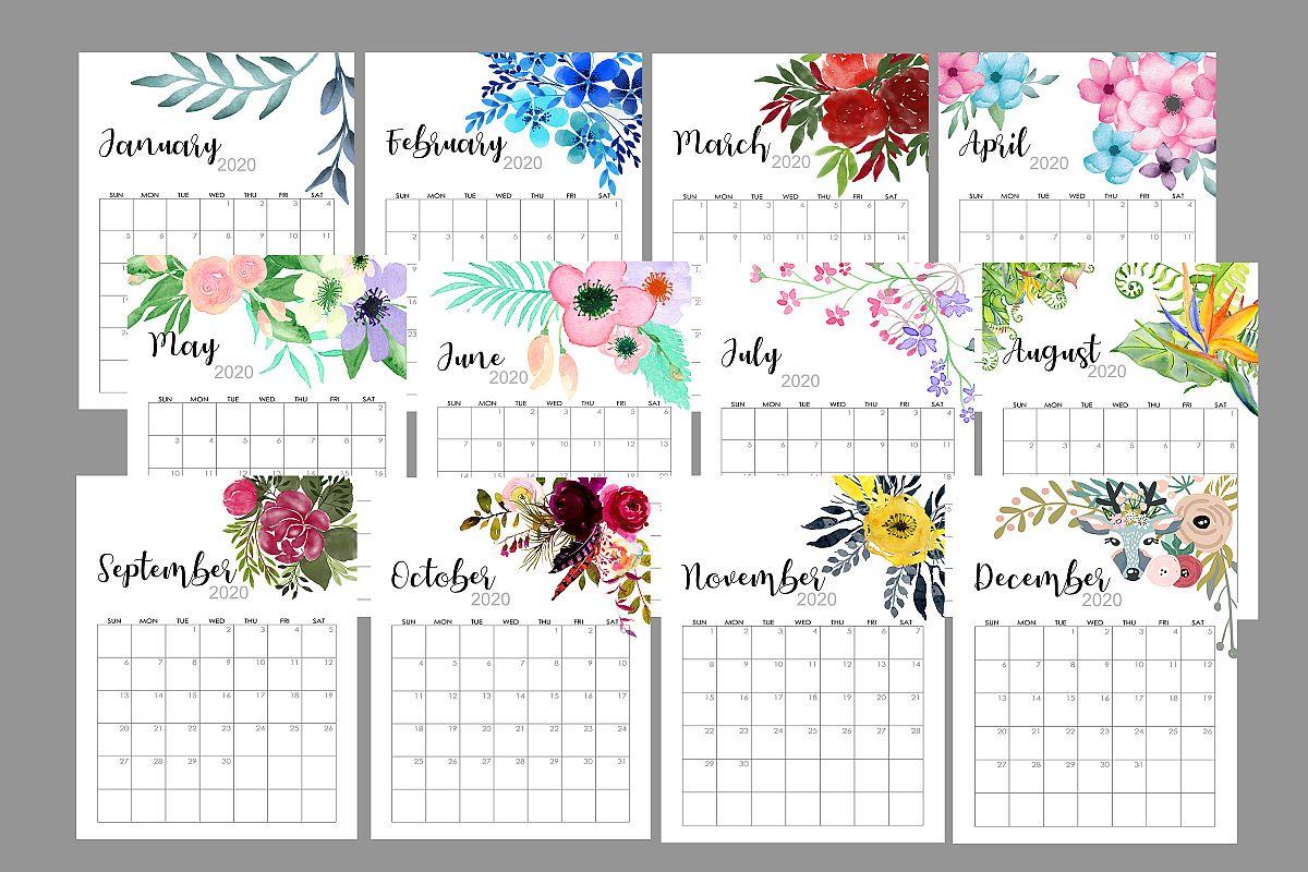 2020 Flowers Calendar Printable, Watercolor Botanical Floral example image 1