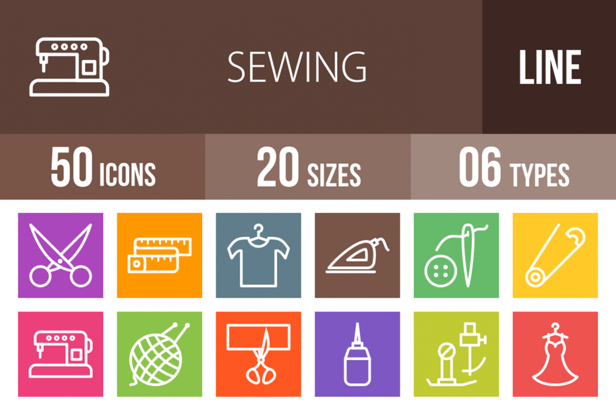 50 Sewing Line Multicolor B/G Icons example image 1