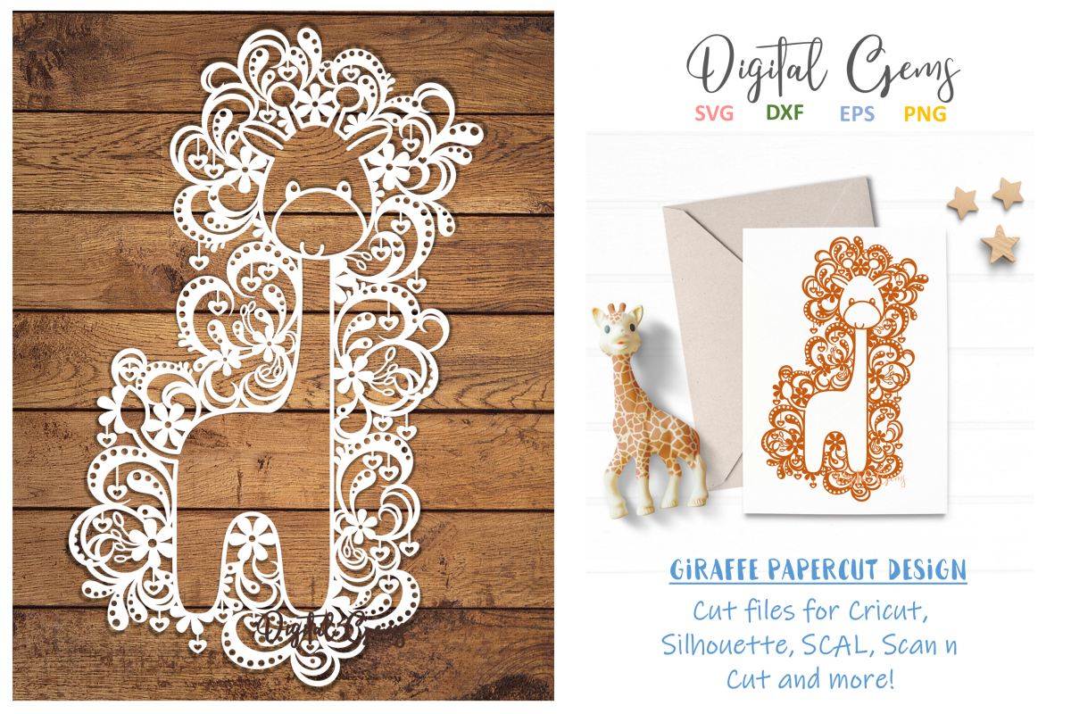 Giraffe paper cut design SVG / DXF / EPS files example image 1