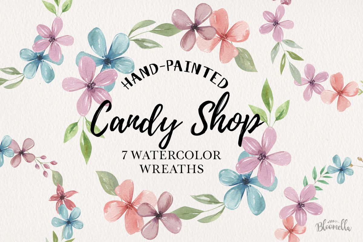 Candy Shop 7 Wreaths Watercolor Flowers Pastels Pink Blue example image 1