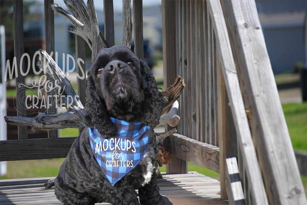 MOCK-UP - Pet Bandana, Dog Bandana, Buffalo Plaid example image 1