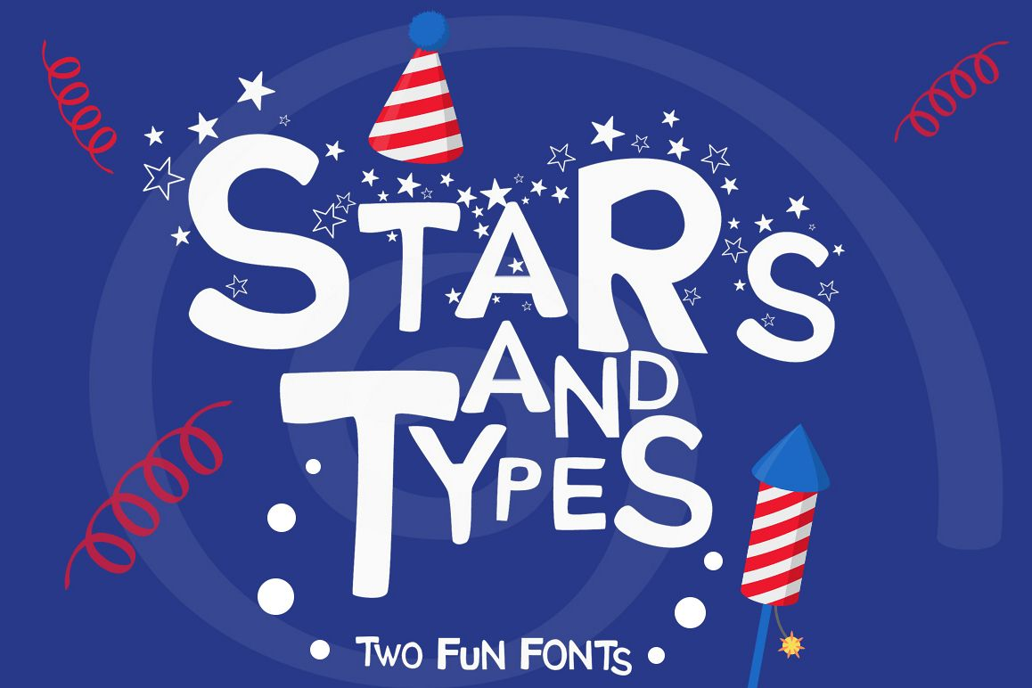 Stars and Types - 2 Fun Fonts example image