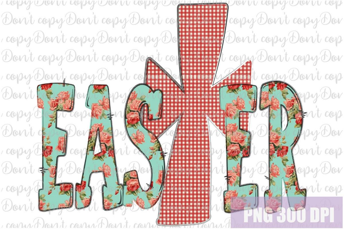 Easter Sublimation PNG Design with Cross example image 1