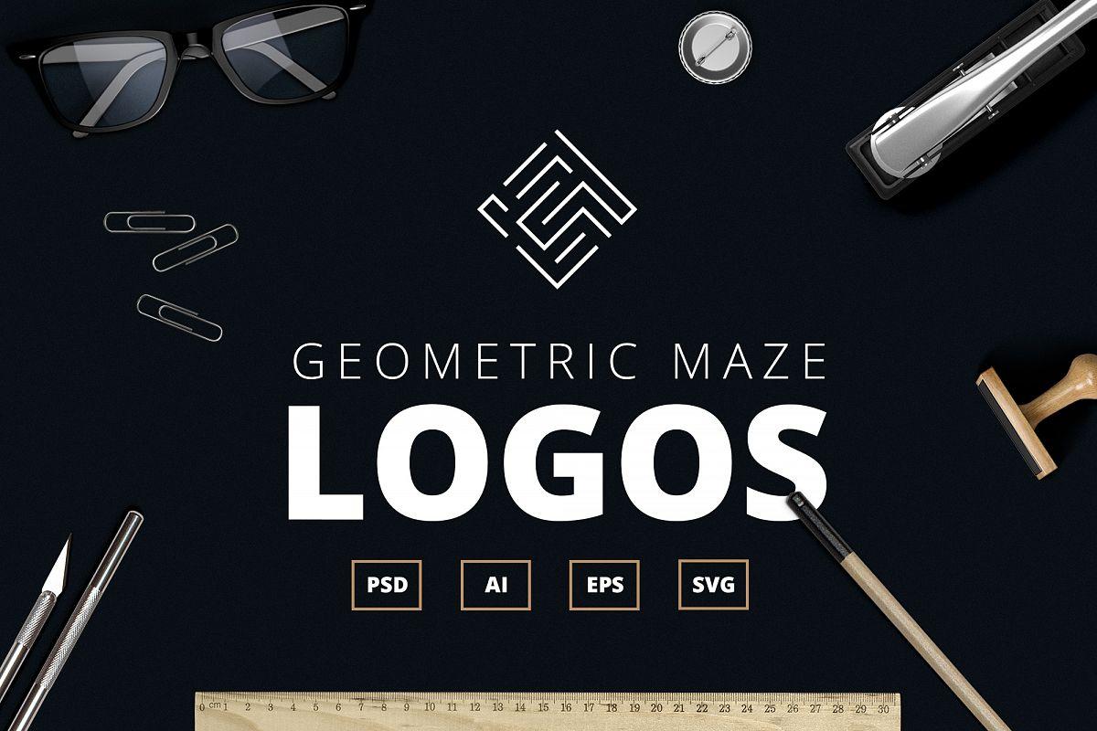 Geometric Maze Logos + Templates example image 1