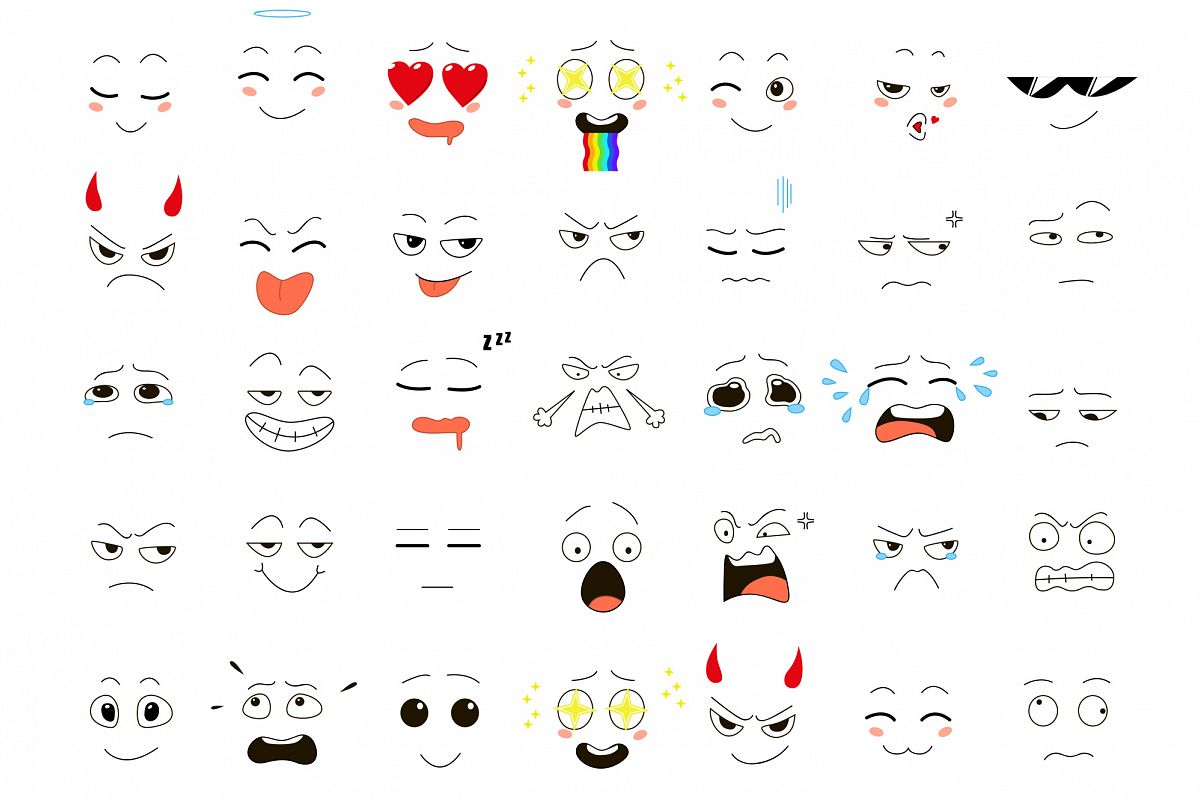 Set of 35 emoticons example image 1