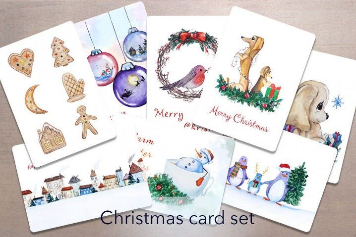 Watercolor Christmas Cards.Watercolor Christmas Card Set