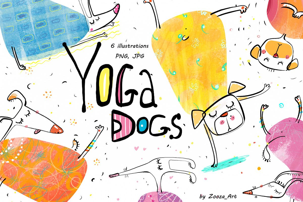 Yoga Dogs - 6 illustrations example image 1