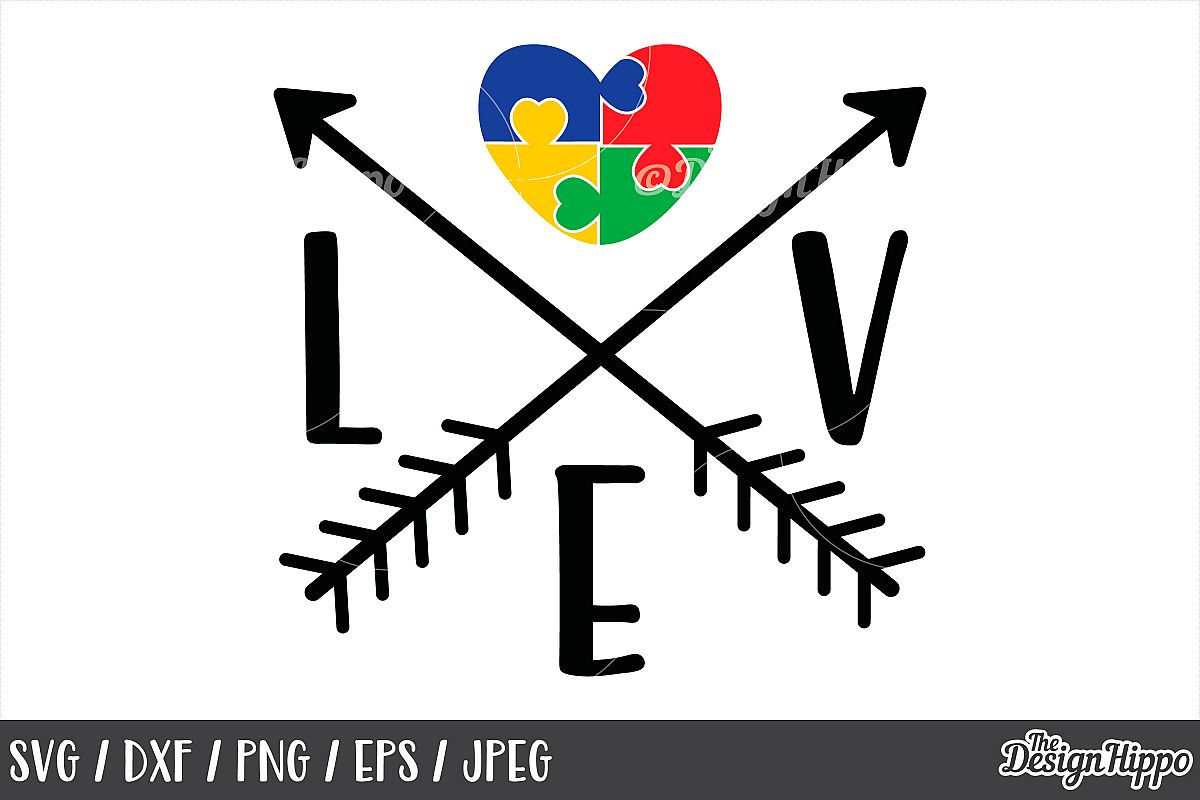 Autism Awareness, Love, Puzzle Pieces Heart, Arrows, SVG DXF example image 1