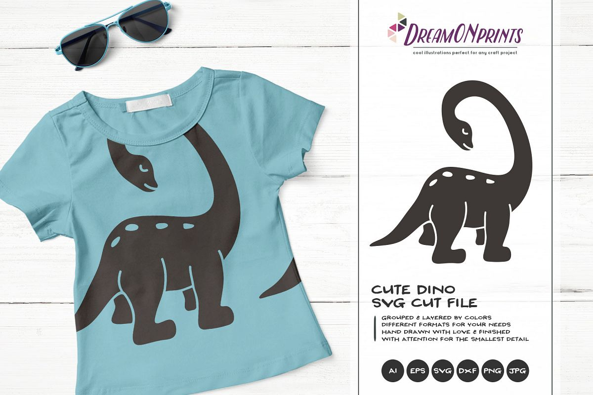Dino SVG Cut File - Funny Dinosaur Illustration example image 1