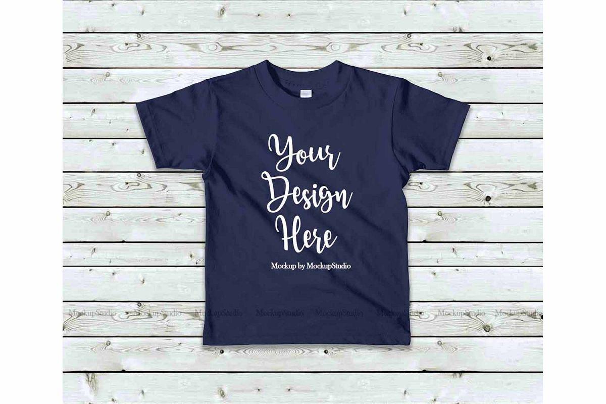 Kids Navy Tshirt Mockup, Toddler Shirt Flat Lay Mock example image 1
