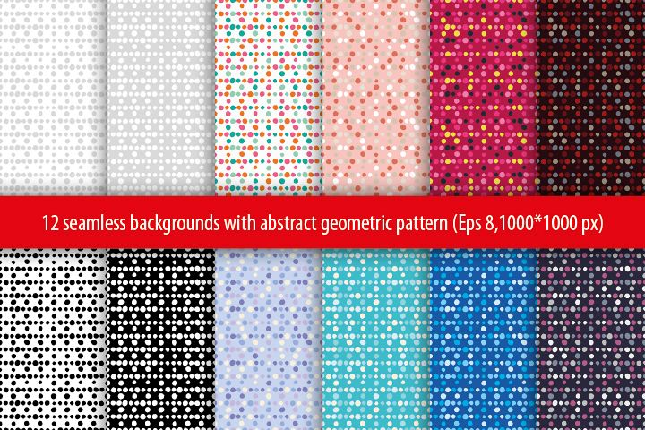 Set of 12 seamless vector backgrounds with abstract geometric pattern.  example image 1