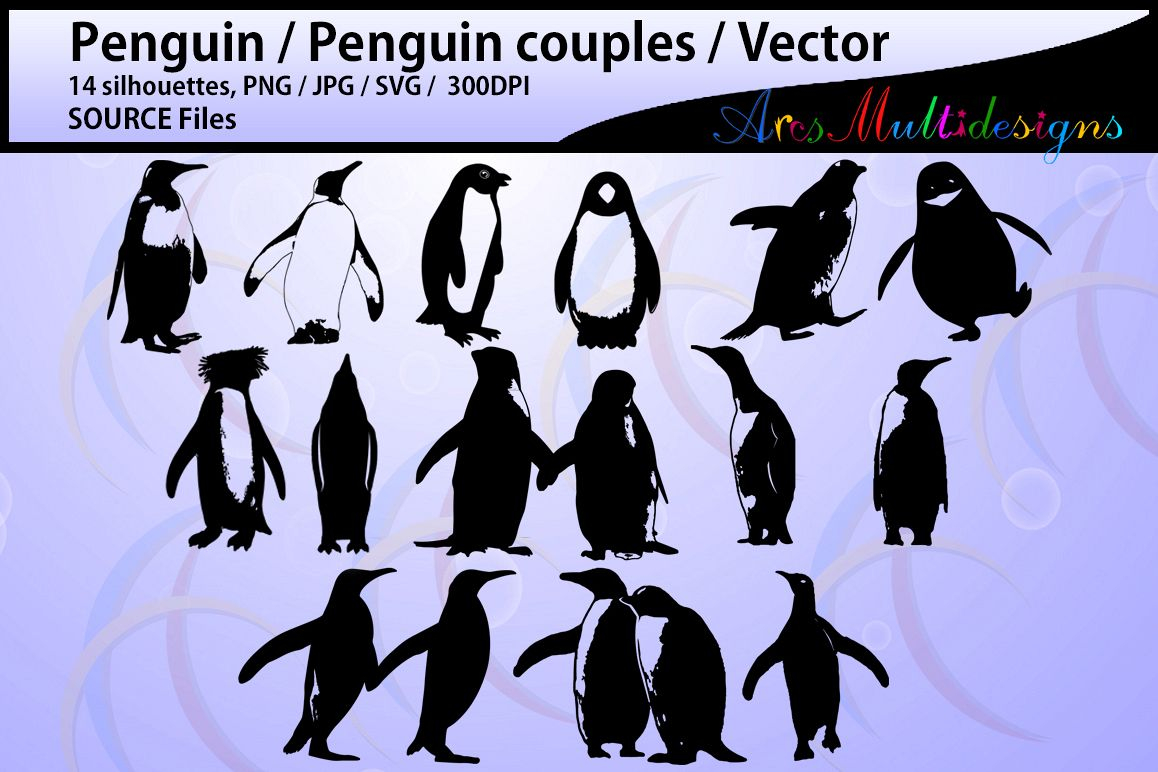 penguin silhouette svg / penguin / High Quality silhouettes / printable penguin /cricut / silhouettes / baby penguin / couples /SVG / PNG example image 1