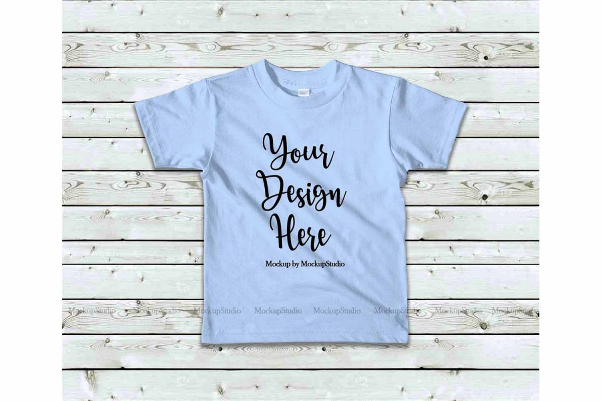 Kids Baby Blue Tshirt Mock Up, Toddler Shirt Flat Lay Mockup example image 1