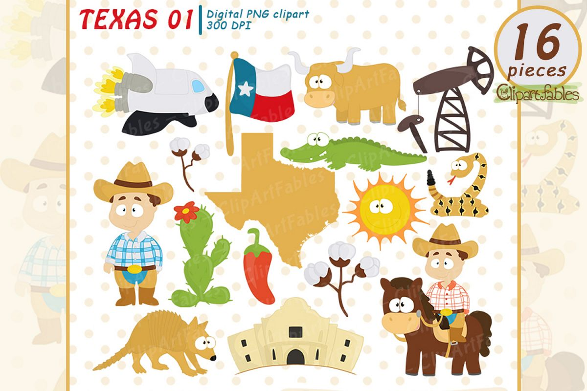 TEXAS State clipart, Cute Texas graphic, Texas map - INSTANT example image 1