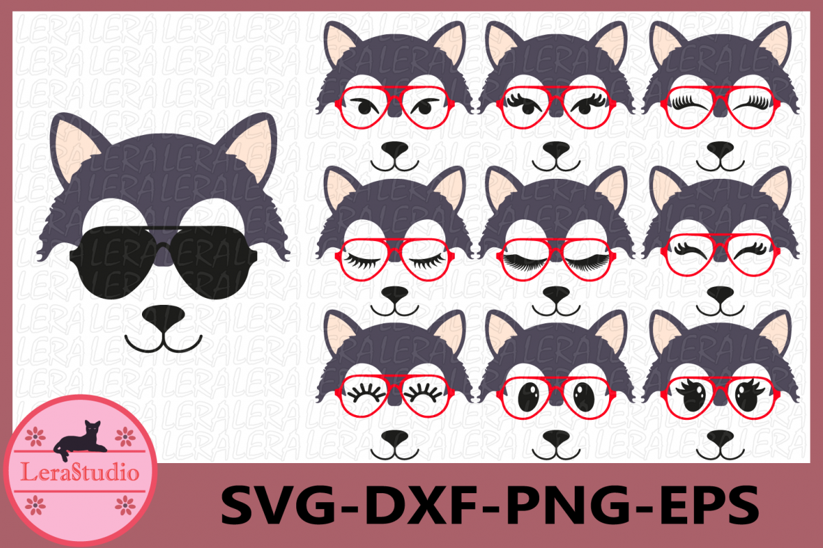 Wolf with glasses Svg, Wolf Face SVG, Animal face svg example image 1